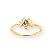 14K Gold May Emerald Birthstone Heart Ring