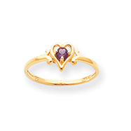 14K Gold Alexandrite June Birthstone Heart Ring