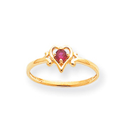 14K Gold July Ruby Birthstone Heart Ring
