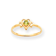 14K Gold August Peridot Birthstone Heart Ring