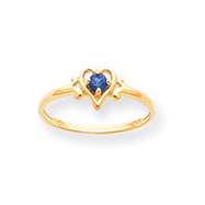 14K Gold September Sapphire Birthstone Heart Ring