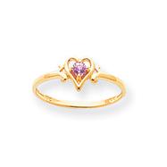 14K Gold October Tourmaline Birthstone Heart Ring