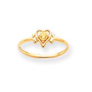 14K Gold November Citrine Birthstone Heart Ring
