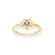 14K Gold December Topaz Birthstone Heart Ring