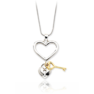 14K Yellow Gold & Sterling Silver Heart With Dangling Heart & Key Necklace