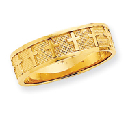 14K Gold Polished & Satin Cross Band