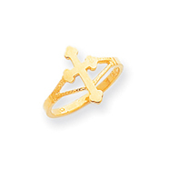14K Gold Polished Cross Ring