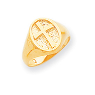 14K Gold Polished Eternal Life Cross Ring