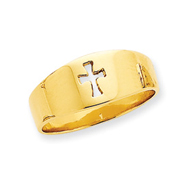 14K Gold Polished Cut-out Cross Ring