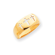 14K Gold Polished Cut-out 3 Cross Ring