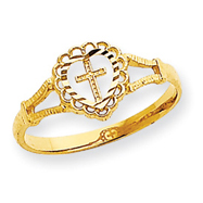 14K Gold Diamond-Cut Childs Heart & Cross Ring
