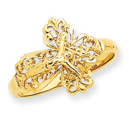 14K Gold Diamond Cut Crucifix Ring