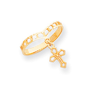 14K Gold Polished Cross Dangle Charm Ring