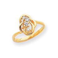 14K Gold Polished Diamond Ring