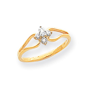 14K Gold Polished Diamond Ring