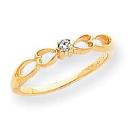 14K Gold Polished AA Diamond Heart Ring