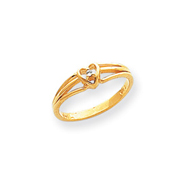 14K Gold Polished Diamond Heart Ring