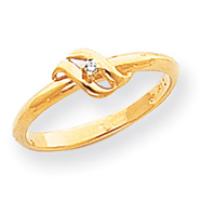 14K Gold Polished AA Diamond Swirl Ring