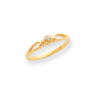 14K Gold Polished AA Diamond Fancy Ring