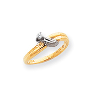 14k Two-Tone Gold Polished Diamond Swirl Ring Mounting