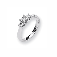 Karat Platinum .50ctw holds .50ct Princess Center Semi-Mount Ring