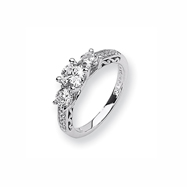 Karat Platinum .66ctw Holds .75ct Round Center Semi-Mount Ring