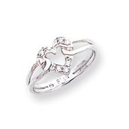 14K White Gold Polished AA Diamond Ring