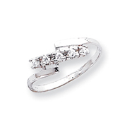 14K White Gold Polished AA Diamond Ring
