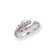 14K White Gold Polished AA Diamond Fancy Ring