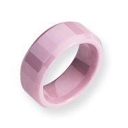 Ceramic Pink Faceted 8mm Polished Band
