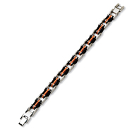Stainless Steel Black and Orange Rubber Bracelet