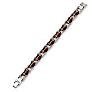 Stainless Steel Black and Orange Rubber Bracelet