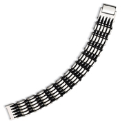 Stainless Steel & Black Rubber Polished Bracelet