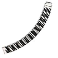 Stainless Steel & Black Rubber Polished Bracelet
