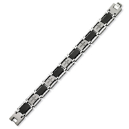 Stainless Steel and Black IP-plated Diamond Bracelet