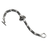 Stainless Steel Skull with Diamond Bracelet