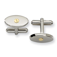 Stainless Steel 18K Gold Accent Cuff Links