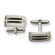 Stainless Steel Black-plated 24k Accent Cuff Links