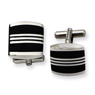 Stainless Steel Enameled Cuff Links