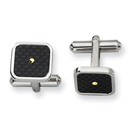 Stainless Steel Carbon Fiber 18k Gold Accent Cuff Links