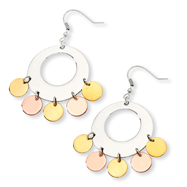 Stainless Steel and Gold and Rose Color IP-plated Fancy Dangle Earrings