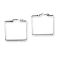 Stainless Steel 3x30mm Square Hoop Earrings