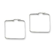 Stainless Steel 3x38mm Square Hoop Earrings