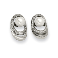 Stainless Steel Cultured Pearl & CZ Earrings