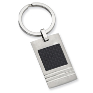 Stainless Steel Black Carbon Fiber Key Chain