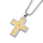 Stainless Steel 14k Gold and Diamond Accent Cross Necklace