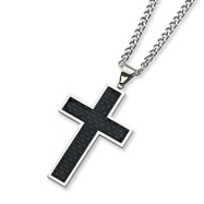 Stainless Steel Carbon Fiber Cross Necklace