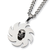 Stainless Steel Saw Blade with Skull Necklace