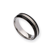 Titanium Two-tone Grooved 6mm Brushed And Polished Band