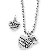 Ed Hardy Stainless Steel Heart & Small Rose With Red Cubic Zirconia Necklace